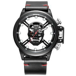 $enCountryForm.capitalKeyWord NZ - Male Unique Design Skull Watch Men Fashion Luminous Quartz Watch Casual Hollow Qut Wristwatches PU Leather Men Watch SKONE