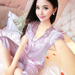 626254a241619 Litmon Pyjama Ensembles Vêtements de nuit Femmes Summer Shorts Solide  Floral Bow Light Purple Soie Pyjamas Femmes Soie Vêtements de nuit