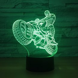Batteries Usb Mouse Australia - Riding Spiderman 3D Optical Illusion Lamp Night Light DC 5V USB Powered AA Battery Wholesale Dropshipping Free Shippin