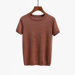 Wholesale slimming knitwear women for sale - Group buy Fashion Hot Summer Knitted T Shirt Top Tees Short Sleeve Solid Women O Neck T Shirts Fashion Slim Knitwear T Shirt Drop shipping
