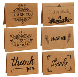 6styles Retro Kraft Paper Thanks Card Thank You Greeting Cards Handwriting Ceremony Party Gifts For Giving Day FFA779 NZ035