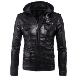 Korean Motorcycle Jacket Australia - Men's new High-Quality Leather Men's PU Leather jacket Korean Fashion Motorcycle Hooded Black Leather