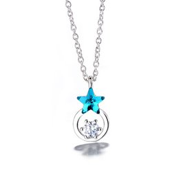 ring slides UK - New Simple Temperament Blue Stars Clavicle Chain Ring Flash Diamond Necklace Pendant Female Fashion Student Jewelry Neck Rings