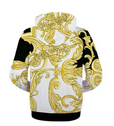 gold zipper long UK - JM Wholesale 3D jacket Hooded Jacket oumeifeng men and women casual muscular long hooded jacket Spoof