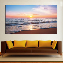 Beautiful Beach Pictures Canada - Large Size Printing Oil Painting Wall Painting Beautiful Beach Sunset Wall Art Picture For Painting No Frame