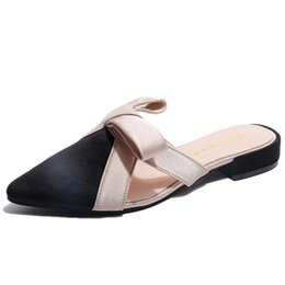 Women Sandals Pointed Toe Slippers Women Butterfly-knot Mules Shoes Woman  Low Square Heel Summer Slides Outside High Heel Slippers f5a5c3f37c30