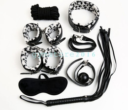 furry bondage restraints NZ - Furry Pantherine Restraint set whip Ankle collar cuffs gag blindfold Clips Set #R78