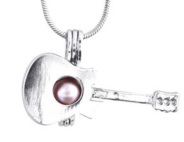 $enCountryForm.capitalKeyWord UK - Silver Guitar Locket Pearl Cool Guitar Cage Pendant Popular Holiday Gifts Fit DIY Locket Necklace P49