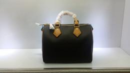 Handbags stamps online shopping - Top quality Women Genuine real Leather speedy handbag shoulder bag speedy strap designer handbags Ladies tote can hot stamping