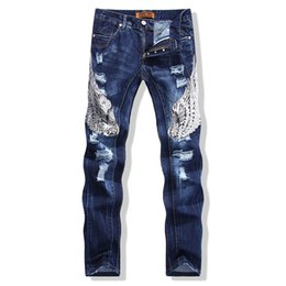 China 2018 New Brand Jeans Fashion Men Casual Slim Fit Straight Jeans Men Blue Sequins Lady Badge Embroidery Hot Sell Male Trousers supplier ladies fashion slim fit jeans suppliers