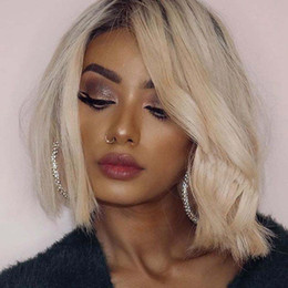 $enCountryForm.capitalKeyWord Australia - #1B 613 Blonde Wave Full Lace Wigs Brazilian Omber Human Hair Wig Short Two Toned Bob Wave Lace Front Wig For Black Women