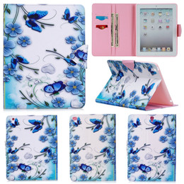 $enCountryForm.capitalKeyWord Australia - Luxury Blue Butterfly Painting Wallet PU Leather Stand Flip Case for Apple iPad 2 3 4 Bag for iPad Air 2