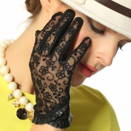 Genuine Leather Gloves Sheepskin Australia - 2018 New Genuine Leather Women Gloves Female Lace Sheepskin Gloves Unlined Fashion Trend Summer Sunscreen Mittens L095N-1