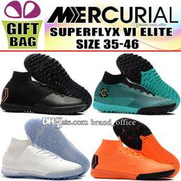 Woman Shoes Low Heels NZ - 2018 Kids Mercurial SuperflyX VI Elite CR7 Soccer Shoes Women Indoor IC TF ACC Socks Football Boots Boy Cristiano Ronaldo Turf Soccer Cleats