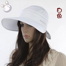 3 Colors Fashion Women Summer Removable Bowknot Type Big Visor Cap Beach  Sun Hat Hot Sale cb00c2000ba0
