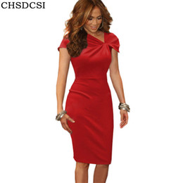 Nuevo vestido de tubo Shirred Bow Neck manga corta de pétalos rojo rosa Vestido De Festa vestidos Plus Size Femme lápiz Pink Hot venta S184