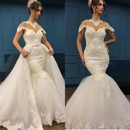 $enCountryForm.capitalKeyWord Canada - Vintage Detachable Train Mermaid Wedding Dresses 2018 Cap Sleeve Sheer Crew Neck Bridal Gowns Lace Appliqued Sweep Train Wedding Dress