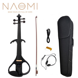 $enCountryForm.capitalKeyWord NZ - Naomi Electric Violin Balance Sound Full Size 4 4 Electric Violin Fiddle Solid Wood Electric Violin NEW SET Black Style 3