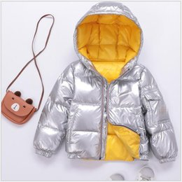 Kids modelling short clothes online shopping - High Quality Short Design Long Sleeve Boys Silver Down Jackets Warm Hooded Down Jackets For Kids Thick Outdoor activity Clothes For Sale