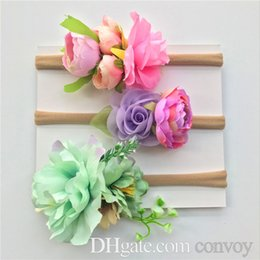 Flowers baby girl photos online shopping - 3pcs set Baby Artificial flowers Headbands Girls Kids Nylon hairbands Cute beach Bohemian Hair Accessories Photo Prop party Hairband KHA728