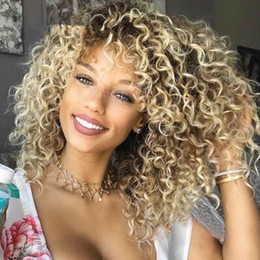 Japanese fiber wigs online shopping - Hair Wigs BOB Blonde Kinky Curly Synthetic Lace Front Wigs Japanese Heat Resistant Fiber Blonde Kinky Curly Synthetic Front Lace Wig FZP17