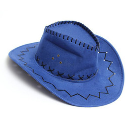 $enCountryForm.capitalKeyWord NZ - Retro Unisex Denim Wild West Cowboy Cowgirl Rodeo Fancy Dress Accessory Hats 10 Colors