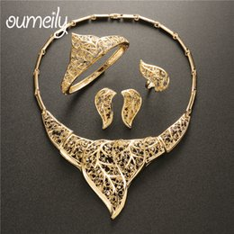 $enCountryForm.capitalKeyWord Australia - OUMEILY African Dubai Gold Color Wedding Jewelry Sets for Women Brides Turkish Australian Imitation Crystal Leaves Jewelry Set