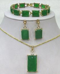 China beautiful braCelet online shopping - Beautiful green Jade Bracelet earring Necklace set no box