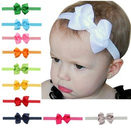 baby hair bands ribbons 2019 - Newborn Baby Girls Headbands Flower Kids Grosgrain Ribbon 8cm Bow Elastic Head Bands Kids Bowknot Hairbands Children Hai