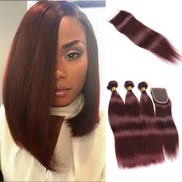 Red Wine Burgundy Brazilian Virgin Hair Australia - 99J Brazilian Straight Hair With Lace Closure Burgundy 8a Brazilian Virgin Human Hair 3 Bundles With 4x4 Closure Wine Red Rainbow Queen