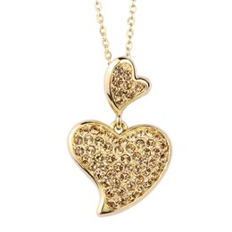 $enCountryForm.capitalKeyWord Australia - Hot Sale TSY Soulmate Heart Pendant Chain Necklace for Women Brown & Pink Crystal Necklaces For women