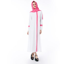 1dbf640f83338 2018 Beauty Garden Muslim White Women Dress Solid Plus Size Pink Scarf  ZIipper Robe abaya islam Dresses Long sleeve Brand Dress