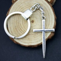 sword crosses NZ - 6 Pieces Key Chain Women Key Rings For Car Keychains With Charms Sword Cross 46x24mm