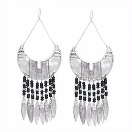 tassels girls UK - European and American exquisite handmade silver plated beaded geometric metal pendant big tassel earrings women girls jewelry gift wholesale