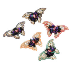 flat patch UK - NEW rhinestones butterfly Applique Patch shoes decoration ornaments accessories bags clothing hat decoration Clog Charm