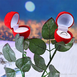 Wedding Display Cases Canada - Charm Red Rose Flower Ring Box Party Wedding Earring Pendant Jewelry Gift Case Display Pack Boxes Christmas Toy IB696