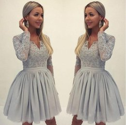 CoCktail dress pink silver online shopping - Elegant A Line Homecoming Dresses V Neck Long Sleeves Short Mini Length Party Dresses Popular Cocktail Dresses
