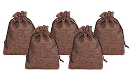 China BROWN 7x9cm 9x12cm 13x18cm 10x15cm Mini Pouch Jute Bag Linen Hemp Jewelry Gift Pouch drawstring Bags For Wedding favors,beads supplier linen jute bag suppliers