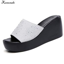 c17a0fcd4c5c Platform Wedge Slide Sandals NZ - Xemonale 2018 Summer Women Slippers Suede  Leather Platform Flipflops Shoes
