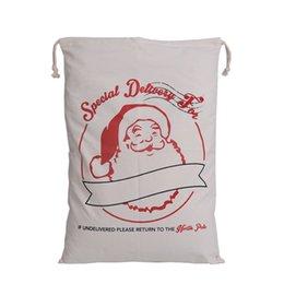 Vente en gros Porte-cadeaux Santa sacs 10pcs / lot Toile Santa Sac 50 * 70cm Sacs cadeaux de Noël Linge de maison wapiti Claus Sac à cordon