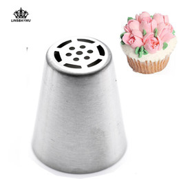 Cake Piping Tools Nozzles Canada - Wholesale-1Pc DIY Russian Tulip Flower Cake Icing Piping Nozzles Decorating Tips Baking Tool drop shipping