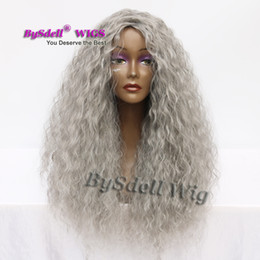KinKy cosplay online shopping - Long Loose kinky curly hair dark granny grey color wig heat resistant hair Halloween Anime Cosplay Party wigs for black women