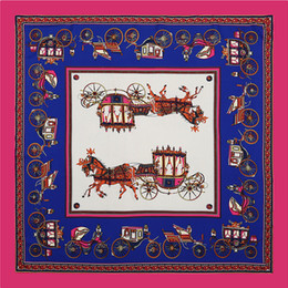 c22b20bfb97a5 Paris Brand Women Horse Print Silk Scarf Luxury Carriage Animal Red Neck  Bandanna Foulard Femme Retro Square Twill H Scarfs 100CM 100CM