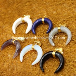 $enCountryForm.capitalKeyWord NZ - Natural crystal pendant(without necklace) Crescent Moon Pendants Tribal Ox Horn Double Horn Pendant Electroplated Metal