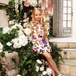 kids stylish clothing 2019 - Kids Clothes Baby Summer Dress Flowers Printed Stylish Children Clothing Sleeveless Girls Dresses for Party and Wedding
