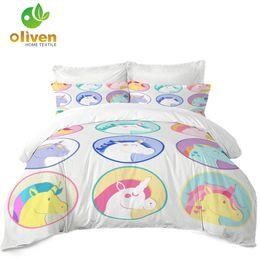 $enCountryForm.capitalKeyWord NZ - Kids Colorful Unicorn Bedding Set Cartoon Patchwork Duvet Cover Set Child Lovely Quilt Cover Pillowcase Soft Bedclothes 3Pcs D35