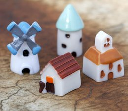 crafts for house decorations NZ - 2Set 8pcs Resin Windmill House Miniatures Landscape Accessories For Home Garden Cake Decoration Scrapbooking Craft Diy
