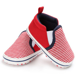 $enCountryForm.capitalKeyWord NZ - Infant Toddler Baby Boys Girls Canvas Soft Sole Crib Shoes Striped Casual Sneaker Newborn to 18 Months First walkers Prewalkers