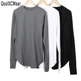 Discount tyga swag clothes - QoolXCWear New Thumb Hole Cuffs Long Sleeve Tyga Swag Style Man High Low Side Split Hip Hop T Shirt T-shirt Men Clothes