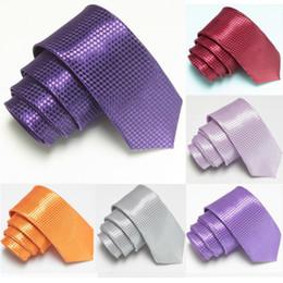 e6fa406c7c68 Plaid Slim Men Neck Tie Purple Solid 5*145cm Check Man Ties Bowties  2*57inch Skinny Necktie choker Neckwear Grid Young Tie neckcloth 100pcs